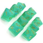 Green & Gold Borealis D10 Ten Sided Dice Set